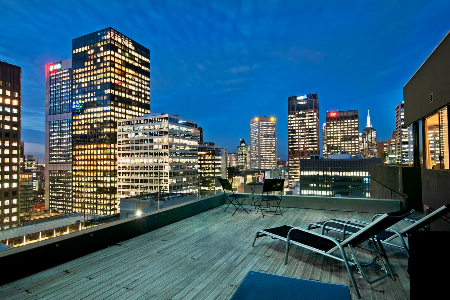Your large private rooftop terrace facing east into the Melbourne CBD