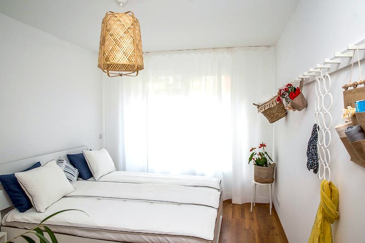A peaceful and serene Bedroom with stylish decor.