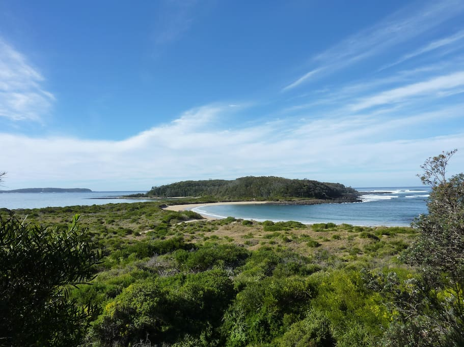View to Broulee island from headland