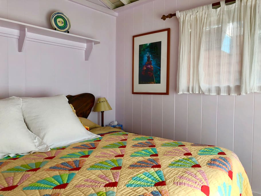 Oceanfront/master bedroom 1 with King bed, comfortable memory foam and beautiful artwork.