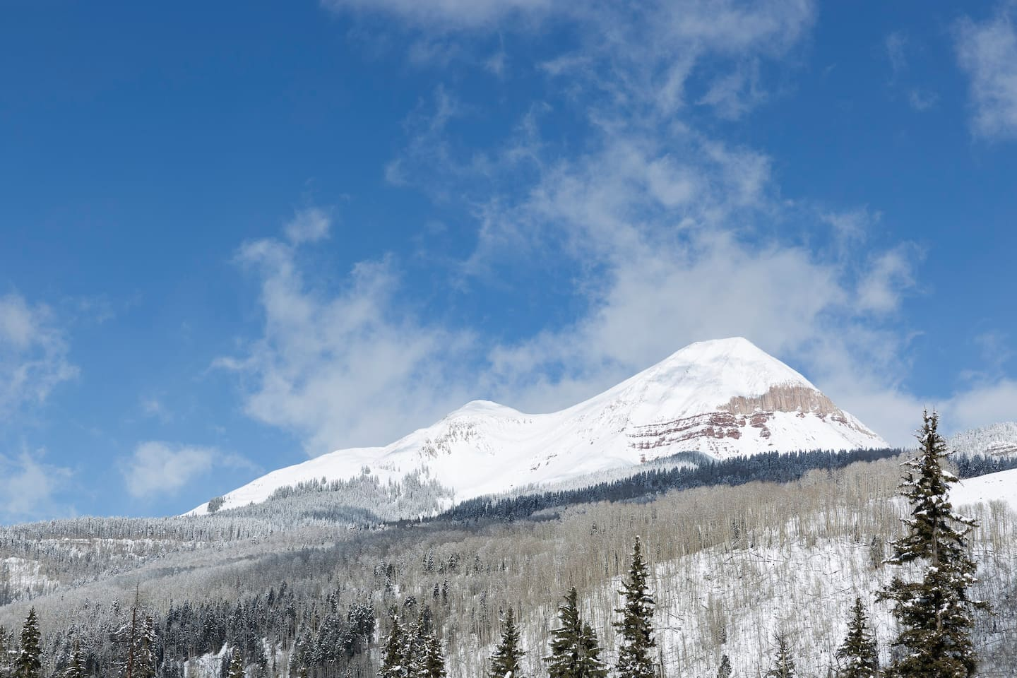 Majestic winter view of Mt. Engineer from our Cascade  Village grounds.