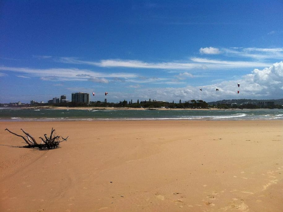 15 minute walk along beach to Maroochy river mouth - watch the kite surfers and SUP riders