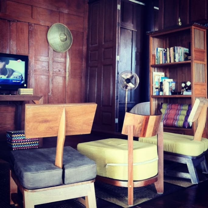Living room with Cable TV, DVD player, Historical books of Ayutthaya, Free wifi with high speed