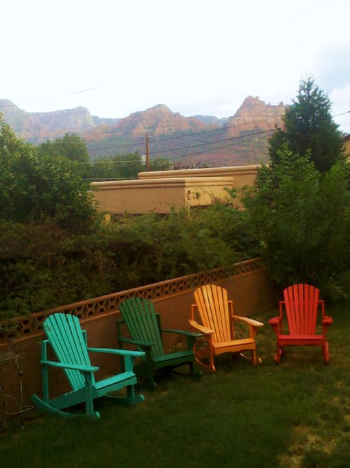 Backyard with mountain views