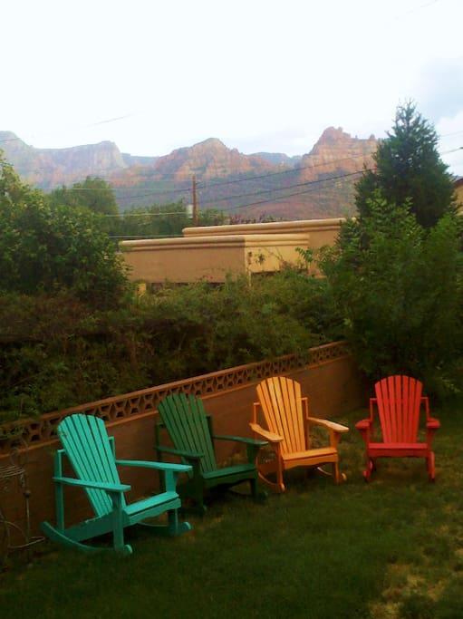 Backyard with mountain views