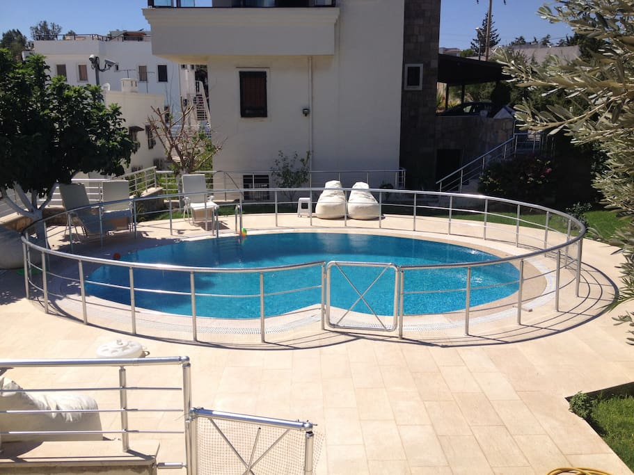 Private pool and garden with fig and olive trees