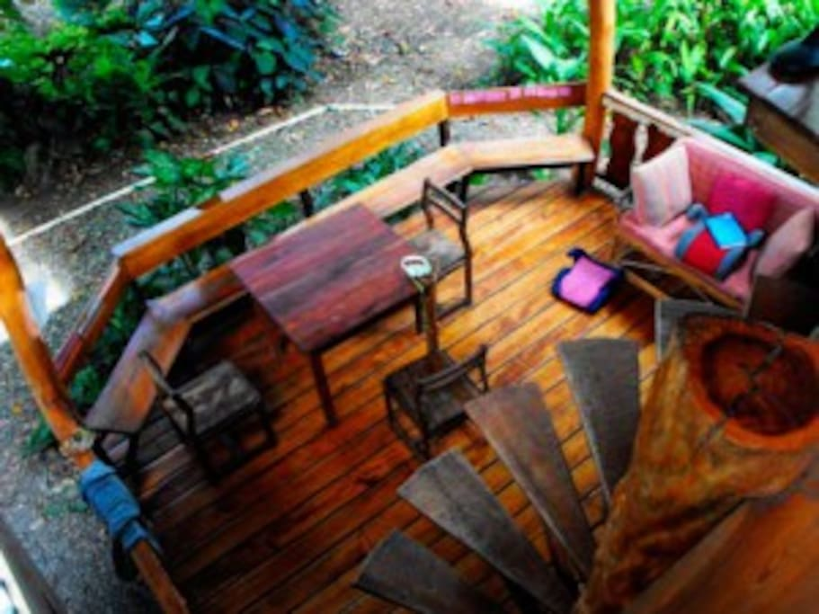 View of the deck from the second story.