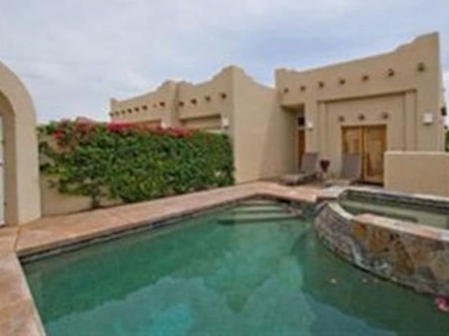 Stunning Gated Private Pool Home w/ Spa & Waterfall and Patio with mountain views