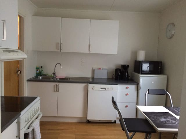 Kitchen with refrigerator, freezer, stove and dishwasher,