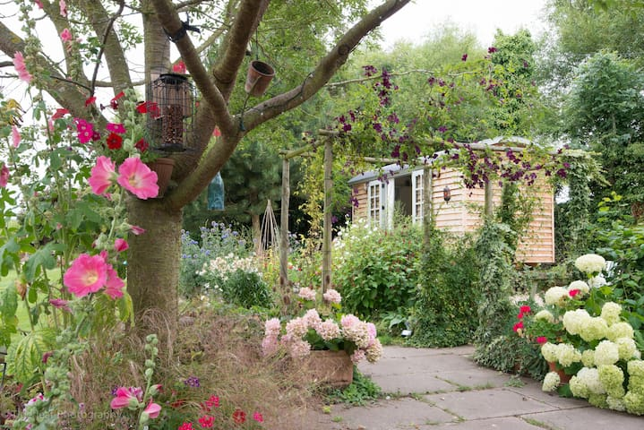 Shepherds hut nestling in the flowers