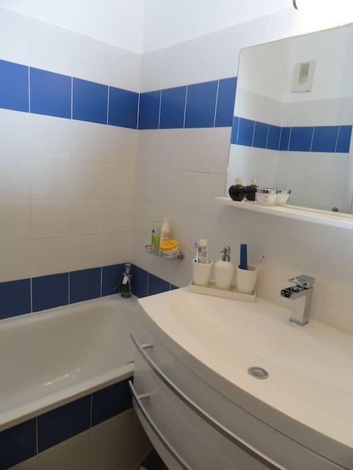 salle de bain avec baignoire et vasque integrée