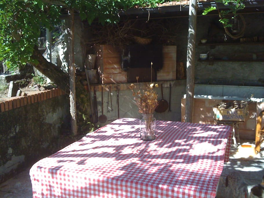 terrace with oven outside the kitchen