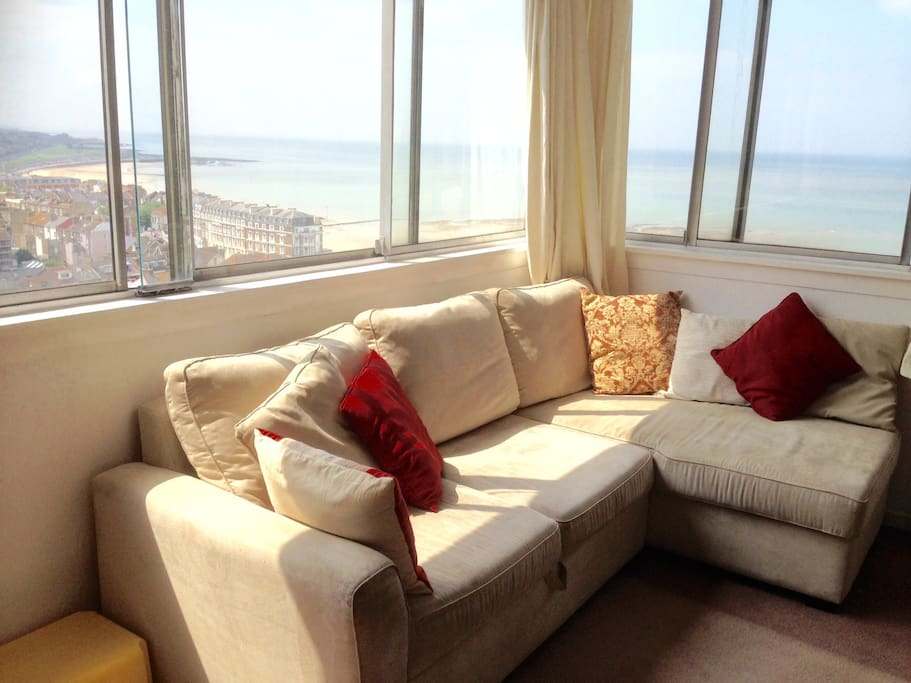 panoramic sea views seen from the comfy corner sofabed in the lounge