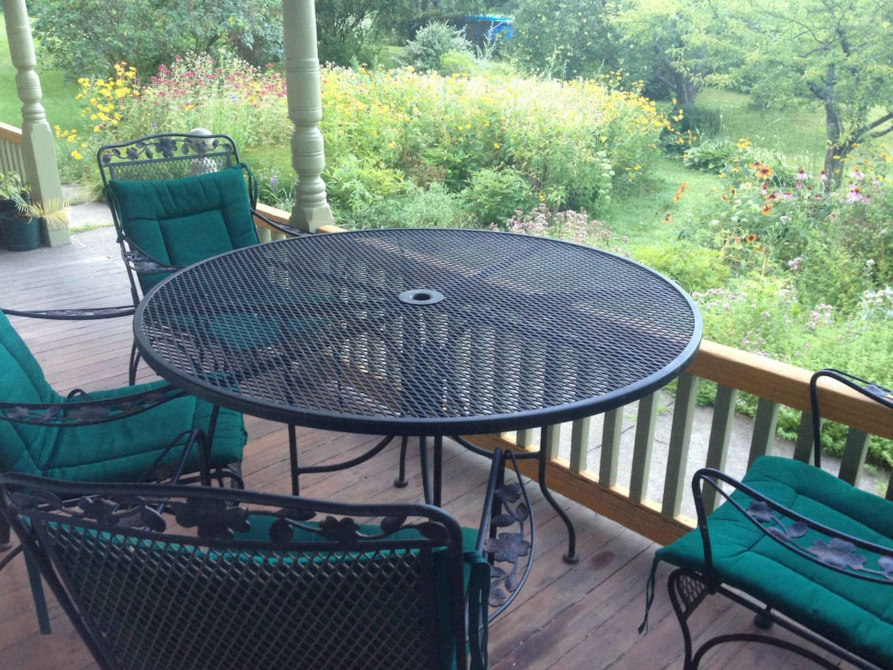Side Porch overlooking our Butterfly Garden