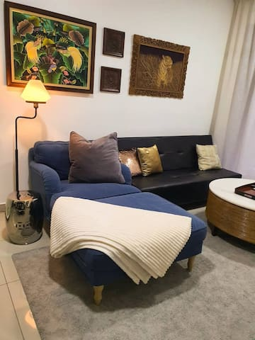 Soft sofa bed with thick blanket