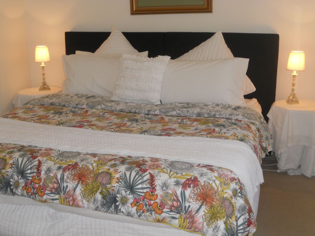 king bed or 2singles configuration with designer linen supplied