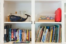 Books, kids books and some toys.