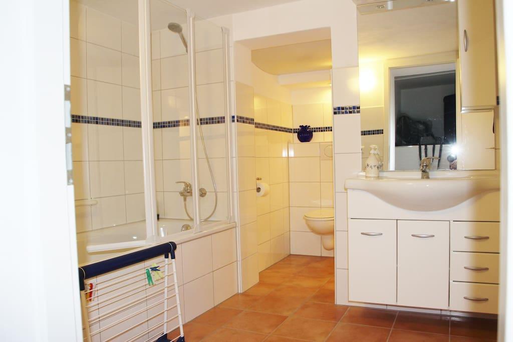 Geräumiges Bad mit Wanne/Dusche und WC