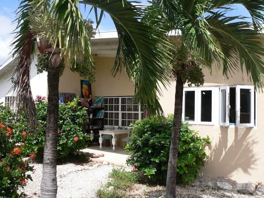 Het huis met royale voortuin en palmbomen