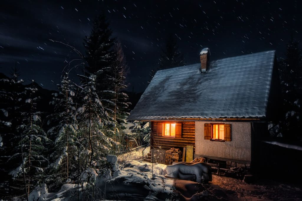 The Cabin in winter time.