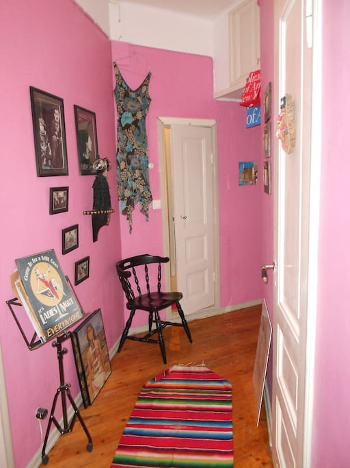 Pink hall and doors to toilet and bathroom