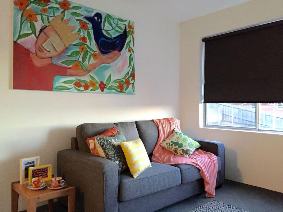 Art work over sofa bed
