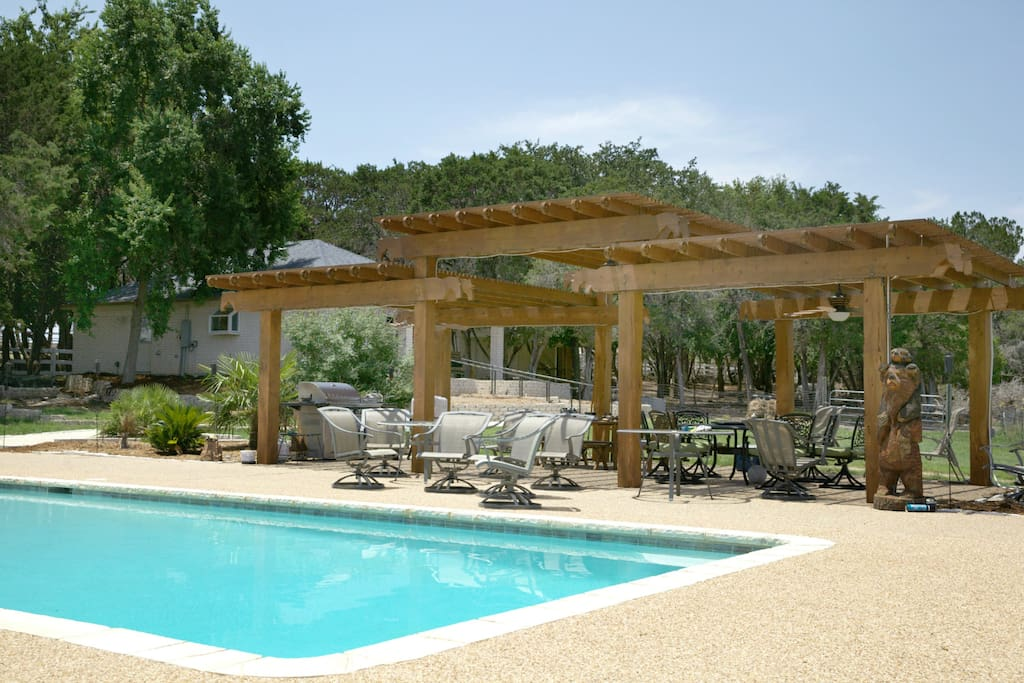 Pergola, BBQ grill, and pool area available for guests to use!