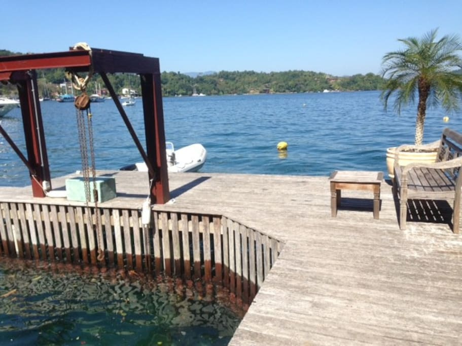 House`s private deck & cristal clear sea
