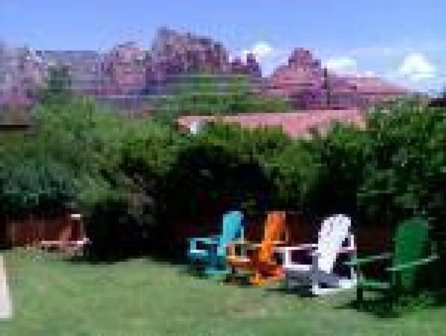 Grass backyard with Mountain Views