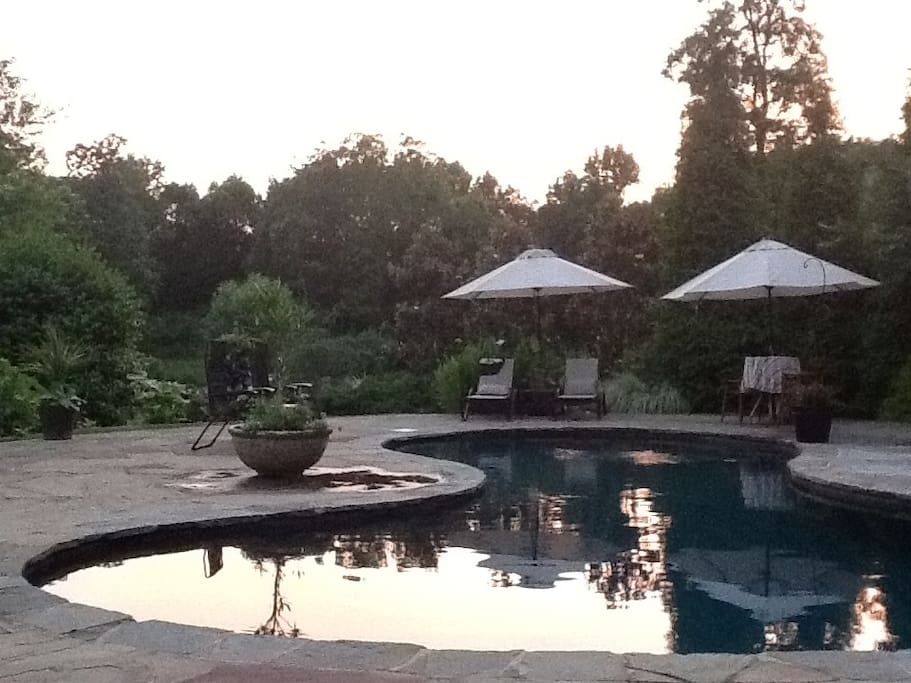 Sunset over the pool.
