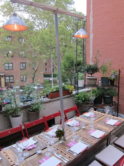 Table outside getting ready for a dinner party...