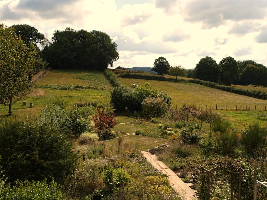 our garden with views to the open countryside and beyond