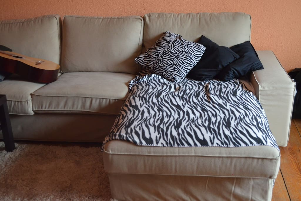 Large and comfortable couch in the living room.