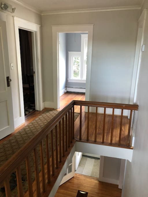 Upper hallway with 3 bedrooms and a viewing room suitable for a youth