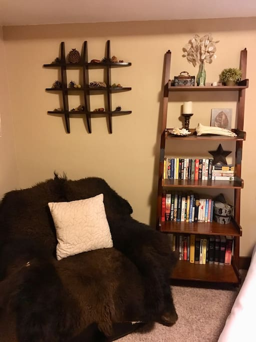Leather recliner with a buffalo robe, bookshelf full of classic paperback books.