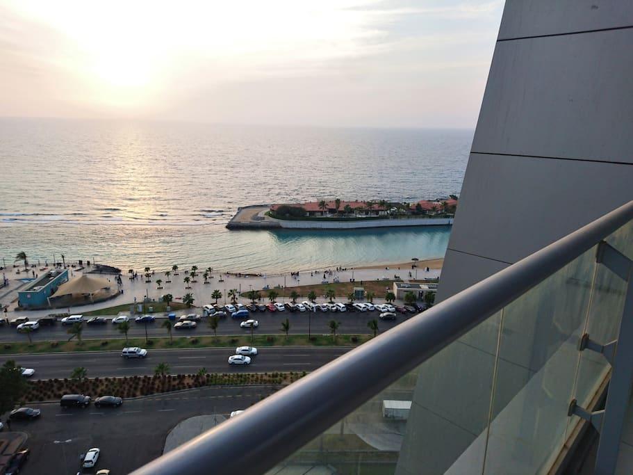 Jeddah's Corniche is just across the street