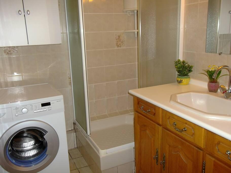 Salle de bain : toilette, douche, lave-linge, lavabo, miroir, rangements