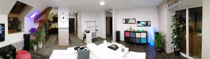 Grande chambre dans un appartement moderne.