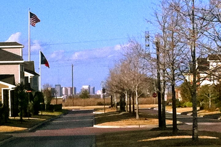 View from Gazebo, City Park Drive, buildings in distance are Texas Medical Center