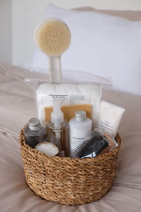 We're giving away a special gift basket with items from MUJI for a minimum stay of three weeks.  The following items are houppettes cotton puff, face soap scrub, light toning water, oil cleansing, moisturising milk, cotton buds, hairbrush, Muji notebook and bath back brush.