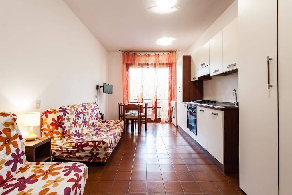 cucina attrezzata con stoviglie,frigo,lavatrice, 2 divani letto, tv schermo piatto,tavolo con sedie, accesso al terrazzo attrezzato per pasteggiare all'aperto