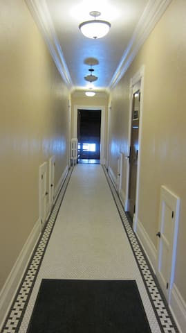 Hallway of the Bab's, the condo is far back on the left.