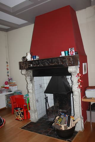 old fire place in the living room