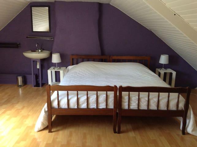 Chambre 4 (1 très grand lit de 180cm transformable en 2 lits simples + 1 lit simple)
