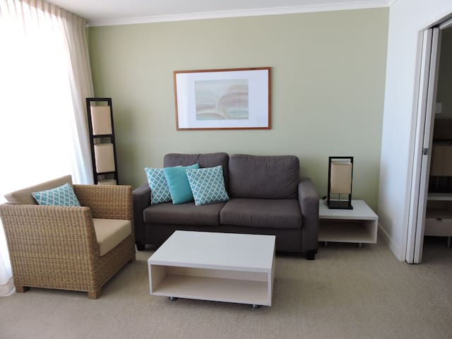 Your living area, including a sofa bed.