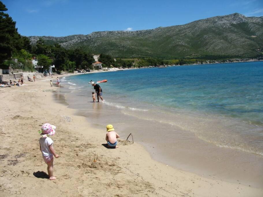 250m to sea, main Trstenica beach 400m