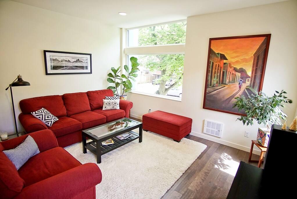 Open, modern living room