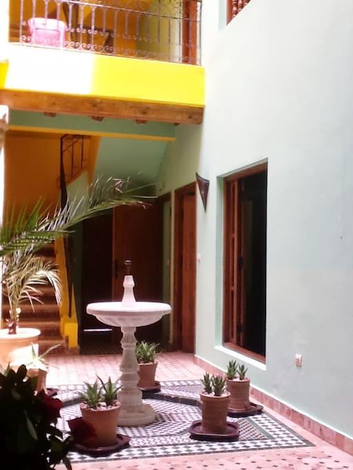 Dar Houria entrance hall and courtyard fountain