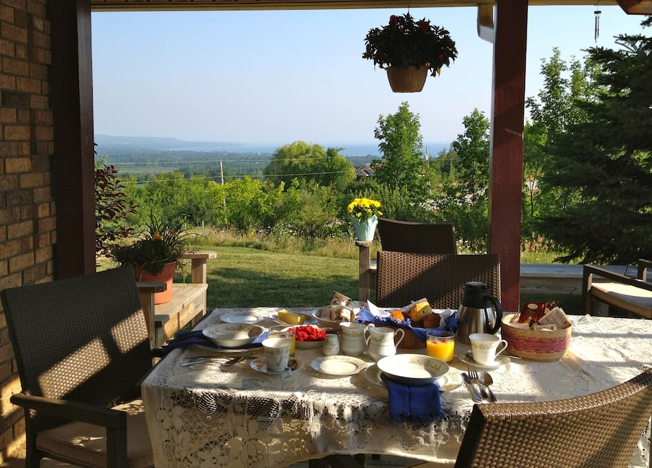 Breakfast deck and view. What a way to start your morning!