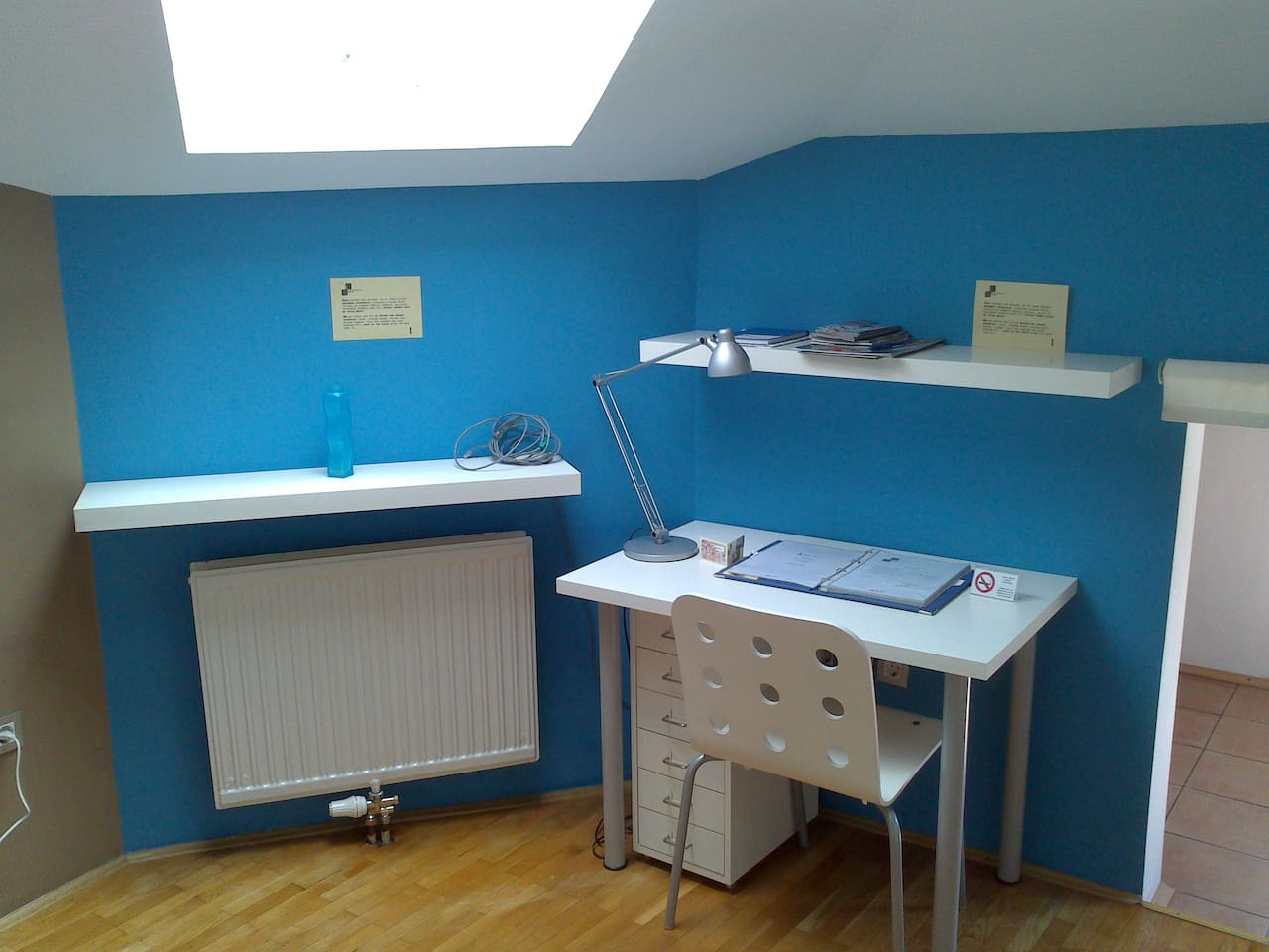 Blue room working area.